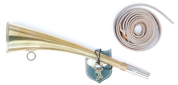 Signalhorn aus Messing gross mit schönem Lederband